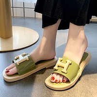 Hermes Tide brand flat-bottomed soft bottom home wearing sandals Green