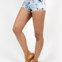JU5133-3-4 Acid Wash High-Waisted Shorts Apparel Shorts & Skirts LT BLUE Bare Feet Shoes