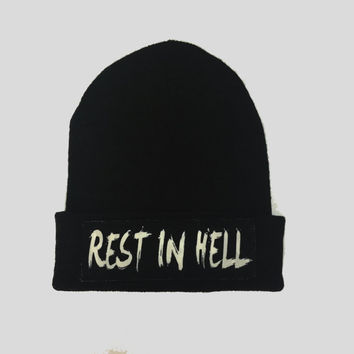 Rest In Hell Gothic Style Winter Beanie Headwear Hipster Indie Swag Dope Hype Black Hat Beanie Mens Womens Cute Slouchy Hat
