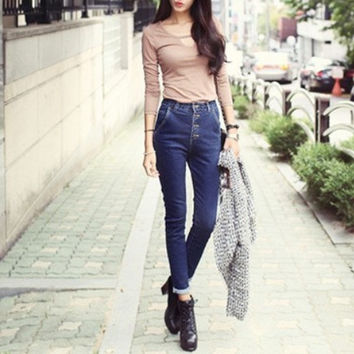 spring new denim skinny jeans breasted female feet high waist pants tide Korean version slim jeans = 1930337796