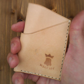 No. 3 Minimalist Handmade Leather Wallet, Front pocket wallet, Credit card wallet, Natural 'nude' Veg Tan