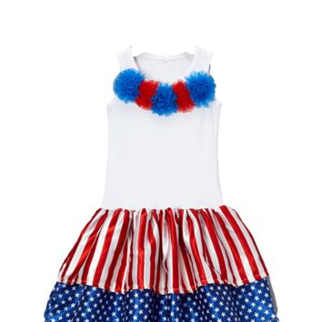 4th of July White Flag Rosette Dress
