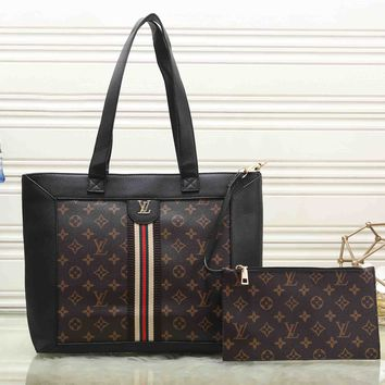 *Louis Vuitton * Women Tote Handbag Shoulder Bag Purse Wallet Two-Piece Set
