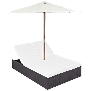 Convene Double Outdoor Patio Chaise With Umbrella