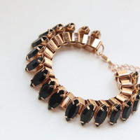 Arm Candy - Brown stones and Gold chunky chain Bracelet - 24k gold plated