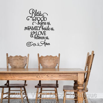 Bless the food before us the family beside us the love between us amen vinyl wall decal wall quote vinyl lettering Kitchen dining wall decal