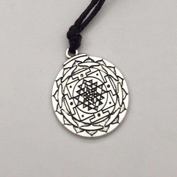 Sri Yantra Pendant Prosperity Mandala Talisman Wealth & Good Luck Necklace