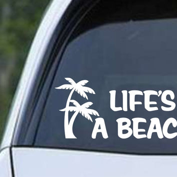Life's a Beach Palm Trees Die Cut Vinyl Decal Sticker