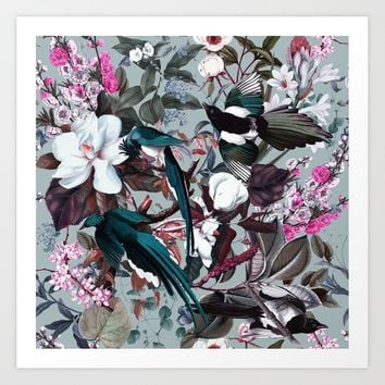 Floral and Birds XXIV Art Print by burcukorkmazyurek