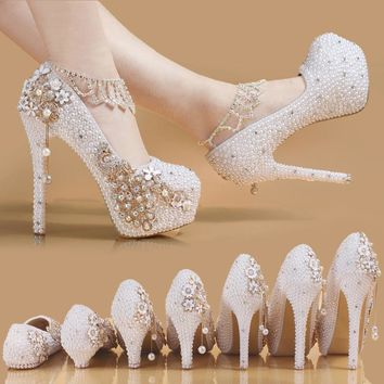 2017 new crystal shoes, Rhinestone BRIDE, Pearl Wedding dress, white high heels, shallow waterproof desk, princess shoes
