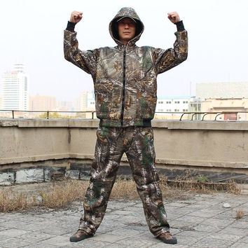 Men Winter Warm Lining Fleece Bionic Camouflage Hunting Suit Outdoor Fishing Snipper Tactical Military Suit Hoody Jacket Pants