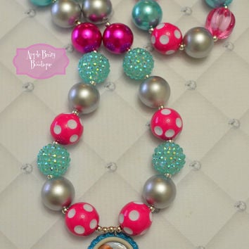 Frozen Disney Princess inspired Chunky Bubblegum Necklace