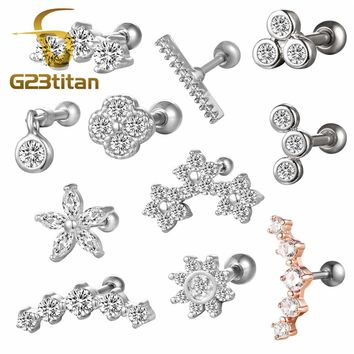 16G Surgical Titanium Crystal Lip Bar Labret Stud Ring Helix Cartilage Tragus Stud Daith Ear Studs Body Piercing Jewelry