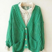 Fashion Lady knitting loose batwing Hollow Cardigan Tops Knitwear Sweater Winter