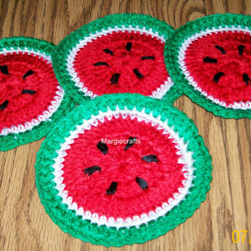 Crochet Coasters, Handmade Drink Coasters, Glass Coasters, Table Protectors, Watermelon Coasters, Placemat, Housewares