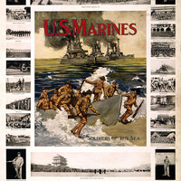 """WWI Poster U.S. Marines """"Soldiers Of The Sea"""" Good Pay Foreign Travel Congenial"""