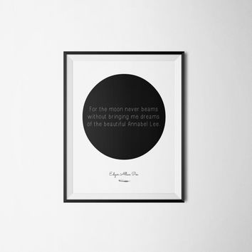 Edgar Allan Poe Poster - Literary Quote - Typography - Circle Art Print - Word Art  - Minimalist Poster Art - Literary Poster