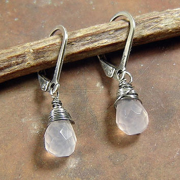 Petite Pink Crystal Quartz Earrings in Sterling Silver, Wire Wrapped crystal Drop, Multi Faceted Crystal Quartz, Rustic Silver Jewelry