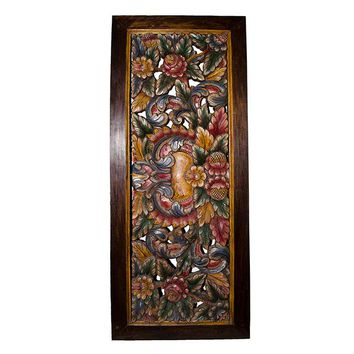 Balinese Hand Painted and Carved Wood Panel