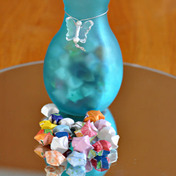 125 Lucky Stars - Origami in a frosted aqua vase - Wishing Star Jar - Handmade by The Hippie Patch