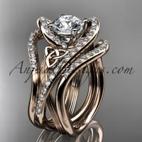 "14kt rose gold diamond celtic trinity knot wedding ring, engagement ring with a ""Forever Brilliant"" Moissanite center stone and double matching band CT7369S"