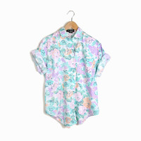 Vintage 90s Floral Boy Shirt in Mint Peach Lavender - m