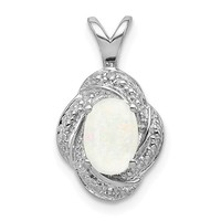 Sterling Silver Diamond And Created White Opal Oval Pendant