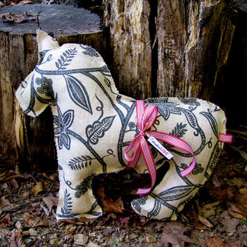 Dala Horse Neck Pillow in Burlap, CUSTOM REQUESTS available. Handmade by studioLISE.