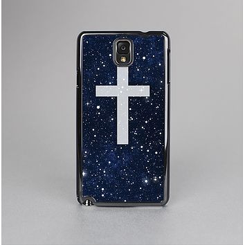 The Vector White Cross v2 over Bright Starry Sky Skin-Sert Case for the Samsung Galaxy Note 3