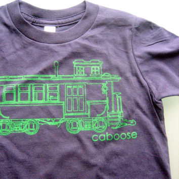 Kid's Train Tshirt - CABOOSE Tee Shirt for Boys and Girls 2, 4 and 6T - Kids Train Tshirt // Gift for Kids