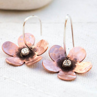 Flower earrings, Copper earrings, Artisan copper and silver flower earrings, Metalsmith earrings, Dangle earrings, Hoop earrings,Mixed metal