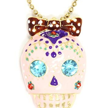 Sugar Skull Necklace Pink Crystal Bow Gothic Punk ND28 Skeleton Pendant Fashion Jewelry