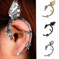 Retro Vintage Gothic Rock Punk Twine Dragon Shape Ear Cuff Earrings