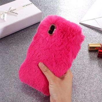 Luxury Rabbit Fur Case For Coque iPhone 8 Plus Case Smooth Plush Furry Cover Diamond Phone Case For iPhone 8 Case For iPhone X