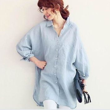 ac PEAPON Plus Size Women's Fashion Korean Long Sleeve Linen Tops Shirt Womens Blouse [9133914636]