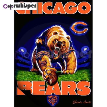 "Daimond Painting Full Square/Round Diamond?Painting""Rugby Chicago Bears""Mosaic Rhinestone embroidery Painting Wall Art LE02107"