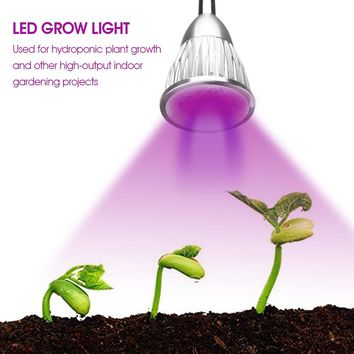 LED Grow Light Bulb 5 LEDs Hydroponic Plant Growing Lights with Power Switch Red & Blue & White for Garden Greenhouse