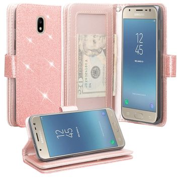 Samsung Galaxy J7 V 2nd Gen, J7 2018, J7 Star, J7 Refine, J7 Aero, J7 Aura, J7 Eon, J7 Pro SM-J730GM/DS, J7 Top, J7 Crown Case, Wrist Strap Glitter Bling Leather Flip [Kickstand Feature] Protective Wallet Cover Clutch - Rose Gold