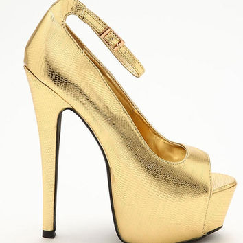 Gold Metallic Snakeskin Peep Toes, Almost Gone