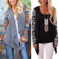 Womens Aztec Waterfall Cardigan Casual Loose Blouse Shirt Tribal Jacket Outwear