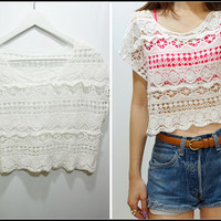 Sandysshop — Hipster White Crop Crochet Lace Top
