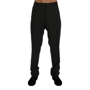 Dolce & Gabbana Gray Striped Wool Stretch Formal Pants