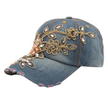 DCCKHY9 Brand new Baseball Cap Summer Style Women Diamond Flower Lady Jeans Hats caps