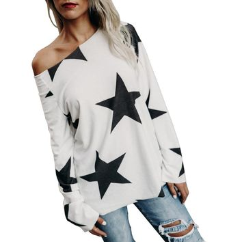Women's Cute White & Blue Off The Shoulder Stars Long Sleeve Pull Over Sweater
