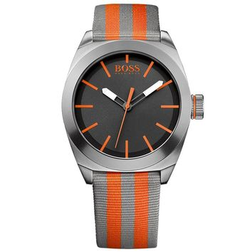 Hugo Boss 1512998 Men's Boss Orange London Grey Dial Orange & Grey Nylon Strap Watch