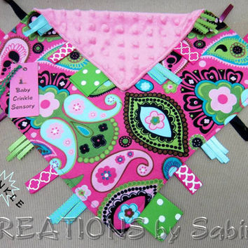 Baby Crinkle Sensory Blanket, Security Tag Toy, Ribbon Blanket, pink green turquoise, flowers paisley, minky READY TO SHIP 165