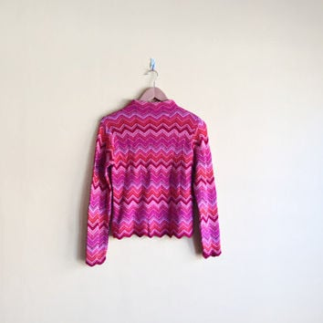 Vintage 90s Psychedelic Shirt - Zig Zag Shirt ZigZag Psychedelic Clothing Boho Top Long Sleeve Mock Turtleneck 90s Clothing Chevron Print