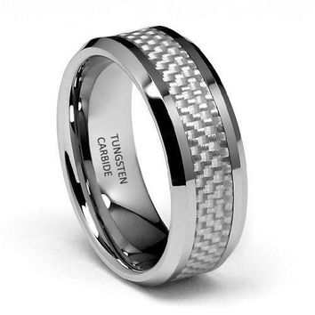 8mm White Carbon Fiber Inlay Tungsten Wedding Band (Platinum)
