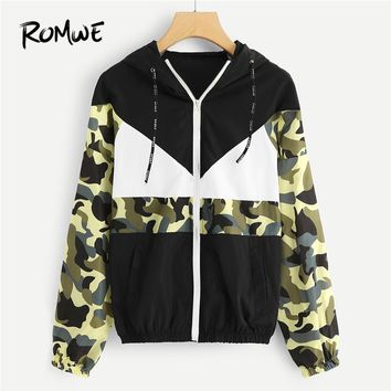 Trendy ROMWE Drawstring Colorblock Camo Panel Zip Up Jacket Women Casual 2018 Autumn Clothing Coats Spring Multicolor Sports Outerwear AT_94_13