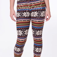 Snow Abstract Print Leggings (Multi-Color)